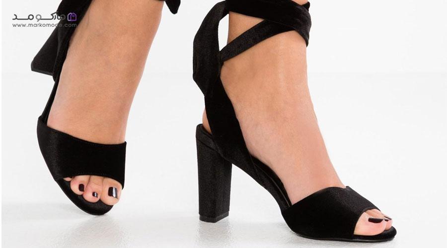 کفش پاشنه پهن زنانه چرم