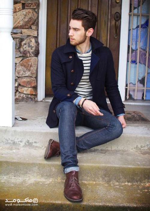 ست کفش قهوه ای کم رنگ با شلوار جین
