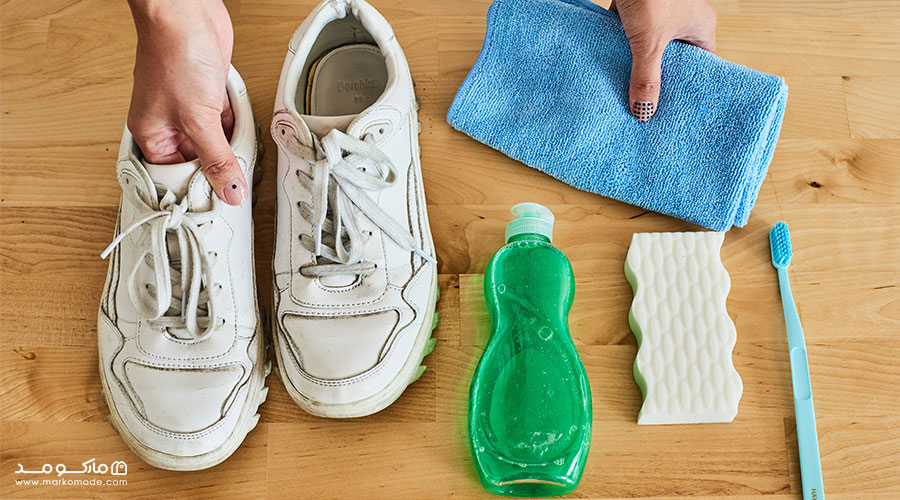 تمیز کردن کفش سفید با سفید کننده