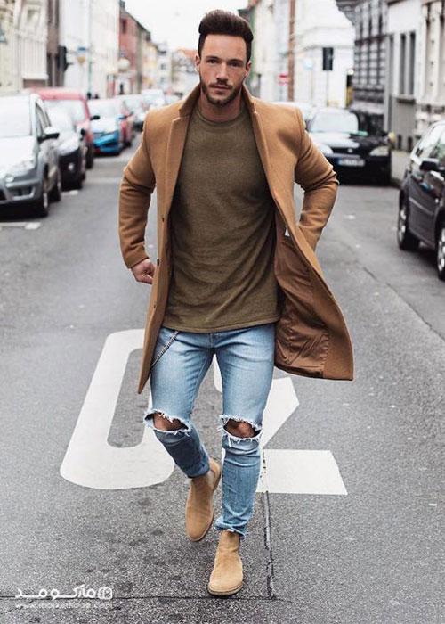 کفش مردانه قهوه ای با شلوار جین