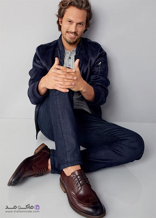 کفش رسمی مردانه قهوه ای با شلوار جین